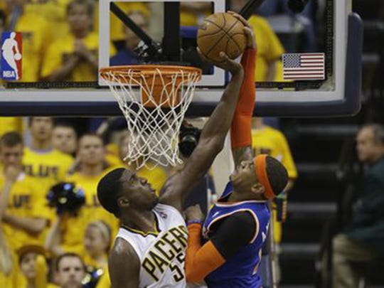 Roy Hibbert's block of Carmelo Anthony in the 4th quarter