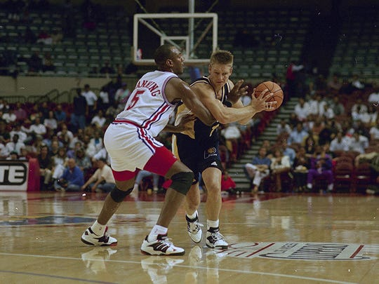 Detlef Schrempf struggled before coming to the Pacers, but once he did, he developed into a strong component of Indiana's squad.