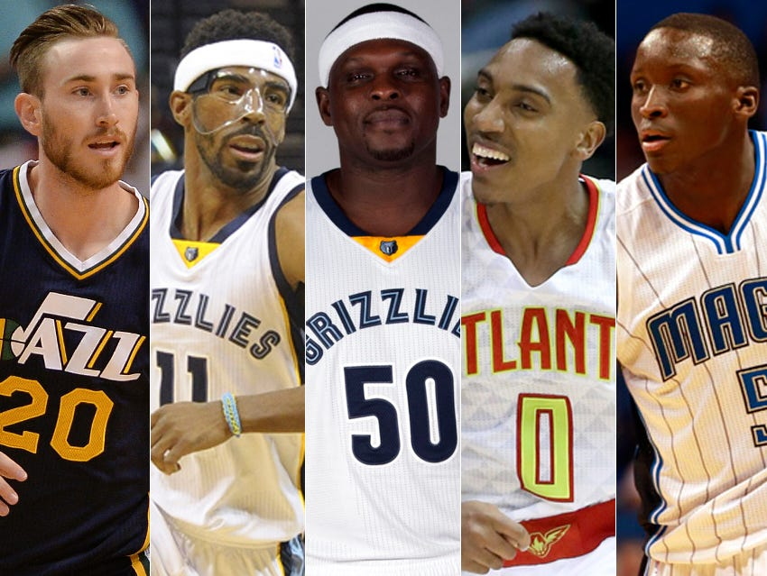 Gordon Hayward (from left), Mike Conley, Zach Randolph, Jeff Teague and Victor Oladipo make up the NBA All-Hoosier first team