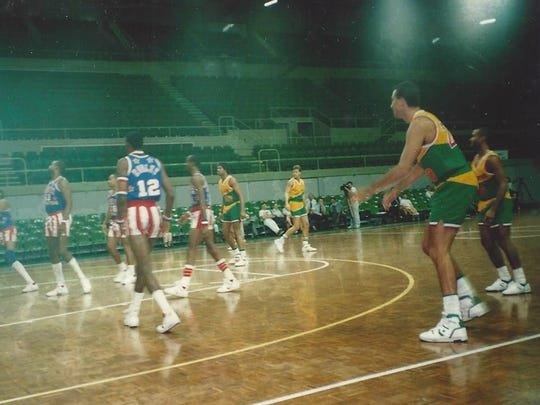 Carl Chrabascz and the Washington Generals play against the Harlem Globetrotters.