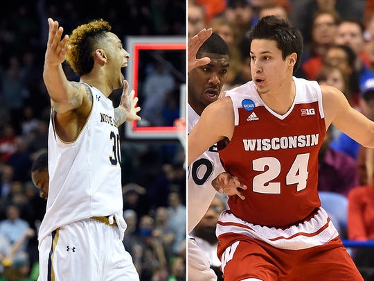 Notre Dame's Zach Auguste and Wisconsin's Bronson Koenig