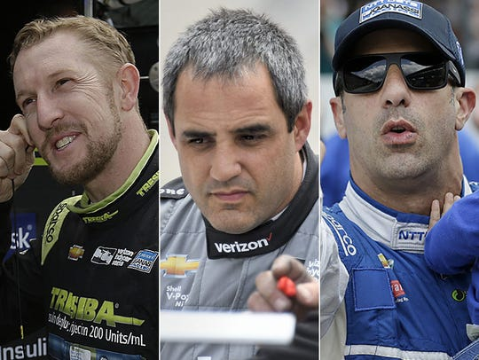 Charlie Kimball (from left), Juan Pablo Montoya and