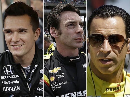 Mikhail Aleshin (from left), Simon Pagenaud and Helio Castroneves.