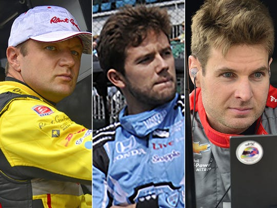 Townsend Bell (from left), Carlos Munoz and Will Power.