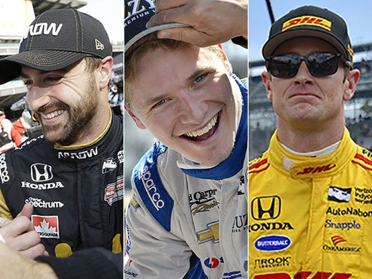 James Hinchcliffe (from left), Josef Newgarden and Ryan Hunter-Reay.