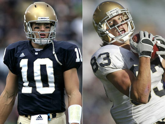 Notre Dame's Brady Quinn and Jeff Samardzija combined on 27 touchdowns during the 2005 and 2006 seasons.