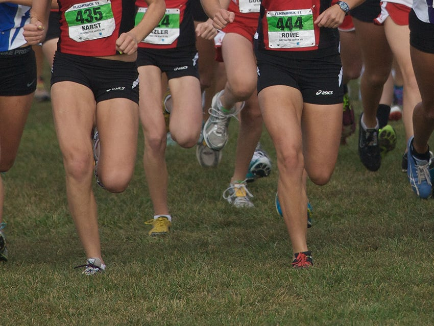 FILE – Runners competed on a soggy FlashRock course Saturday morning.