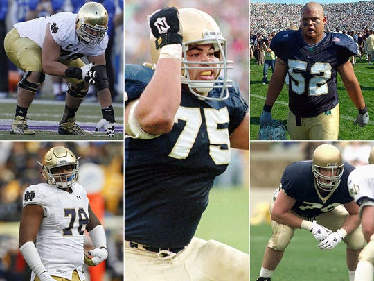 Zack Martin (top left), Ronnie Stanley (bottom left), Aaron Taylor (center), Jeff Faine (top right) and Mike Rosenthal (bottom right).