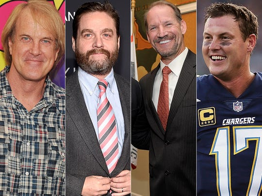 L to R: John Tesh, Zach Galifianakis, Bill Cowher and
