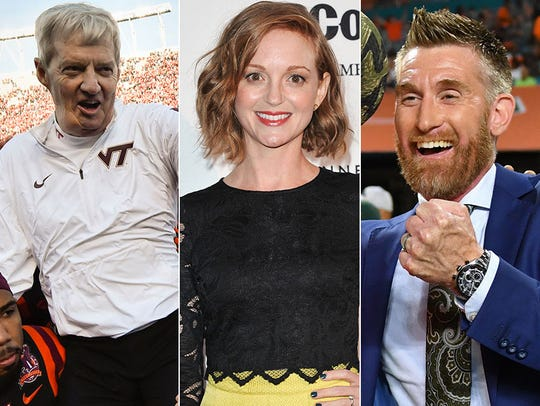 Frank Beamer, Jayma Mays and Marty Smith.
