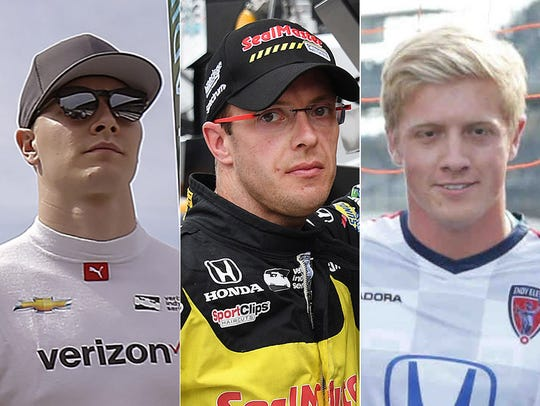 Josef Newgarden (from left), Sebastien Bourdais, Spencer