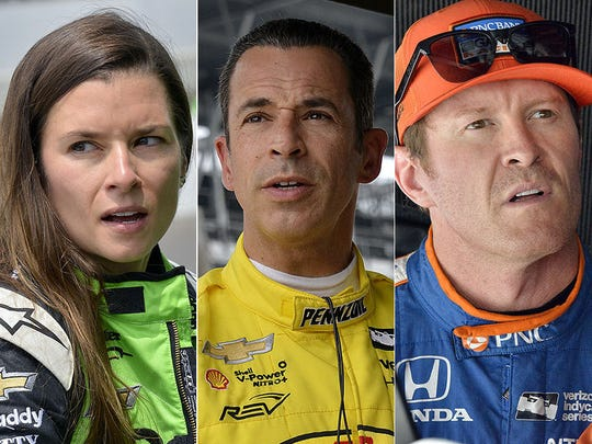 Danica Patrick, Helio Castroneves, Scott Dixon. Row
