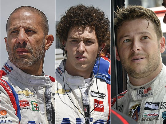 Tony Kanaan, Matheus Leist, Marco Andretti. Row 4 for