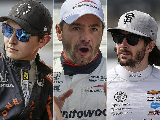 Zach Veach, Oriol Servia, JR Hildebrand. Row 9 for