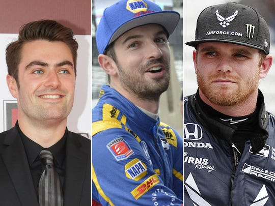 Jack Harvey (from left), Alexander Rossi, Conor Daly.