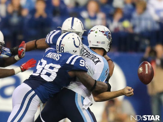 Robert Mathis sacks Ryan Fitzpatrick, forcing him to fumble. Dec. 1, 2013