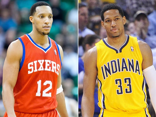Evan Turner (left) and Danny Granger were the key pieces in a trade between the Philadelphia 76ers and the Indiana Pacers.