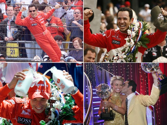 "Helio Castroneves after winning the Indianapolis 500 in 2001 (upper left), 2002 (lower left) and 2009 (upper right). He won ""Dancing With the Stars"" with Julianne Hough in 2008."
