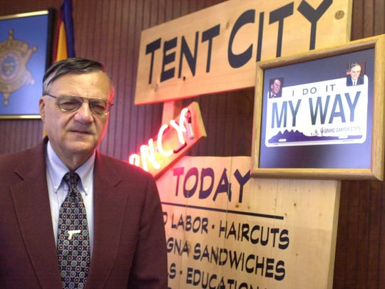 Maricopa County Sheriff Joe Arpaio stands in his office
