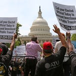 Transit workers participate in a May 20 rally to urge Congress to replenish the Highway Trust Fund.