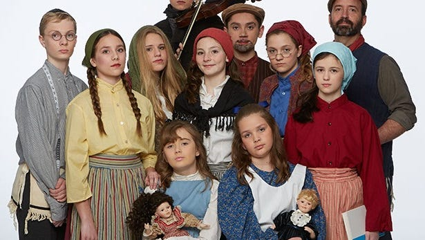Starring in Fiddler on the Roof Jr. are, left to right: top row Luke Gotwald; middle row Joey Basler, Kailey Kaltenbrun, Charlize Kuznacic, Eileen English, Aidan Hager, Stella Revelis, Amelia Redell, Tim Kaufmann; bottom row Abby Ryan, Elizabeth Kaufmann.