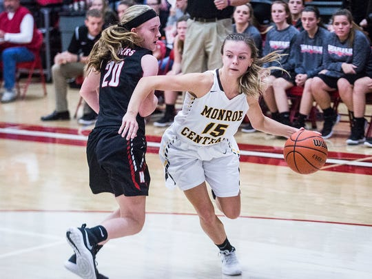 FILE -- Monroe Central's Hannah Bolton dribbles past Wapahani's defense during their sectional game at Frankton High School on Jan. 30, 2018.