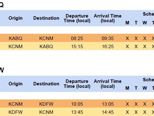 Shown is the new flight schedule out of Carlsbad to