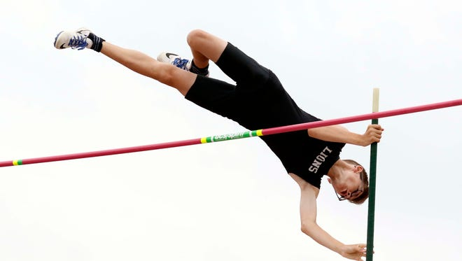 Liberty Union's Jimmy Rhoads competes in the boys pole vault Friday, June 1, 2018, during the state track and field championship at Jesse Owens Memorial Stadium in Columbus.