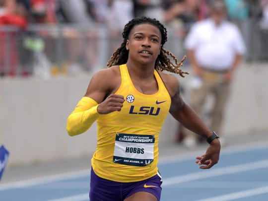 Aleia Hobbs of LSU wins the women's 100m in 10.91 during the USA Championships at Drake Stadium.