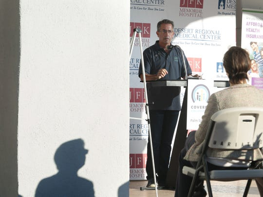 Peter V. Lee, head of California's health insurance exchange, was in Palm Springs as part of a statewide tour.