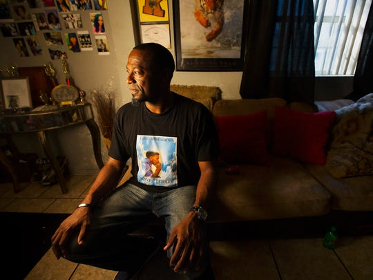 Tony Bridley, shown in his Fort Myers home, speaks about the loss of his son. His son, also named Tony Bridley, was killed in a hit-and-run crash in May.