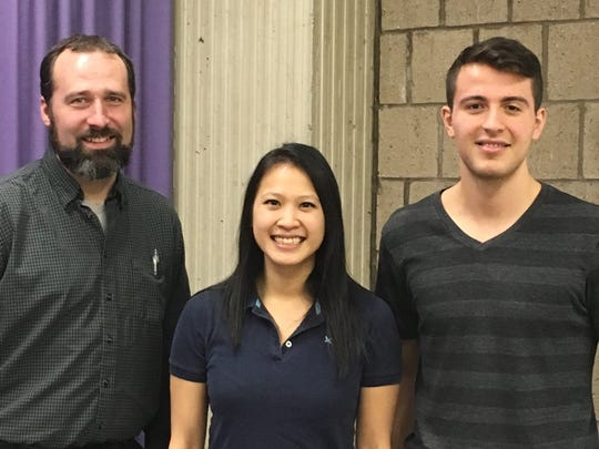 Jay Sobel, left, and Jessica Hua, center, are Assistant Professors in Biological Science at Binghamton University and Devin DiGiacopo is a PhD student.