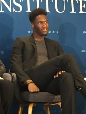 Former Wisconsin basketball player Nigel Hayes speaks at the Aspen Institute in Washington, D.C.