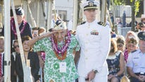 Survivors gathered at the site of the Japanese attack on Pearl Harbor to remember fellow servicemen killed in the raid