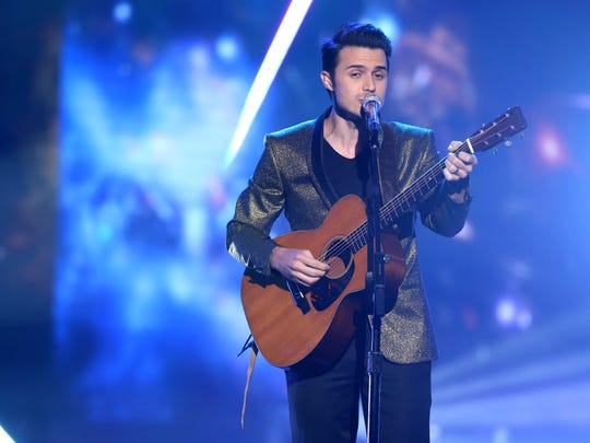 "Kris Allen performs at the ""American Idol"" farewell season finale at the Dolby Theatre on April 7, 2016, in Los Angeles."