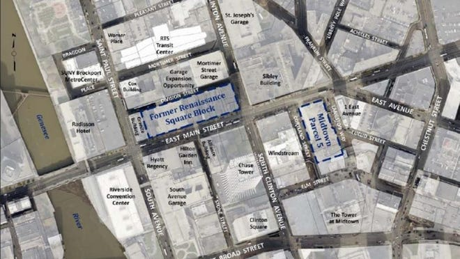 Potential sites for a downtown performing arts center.
