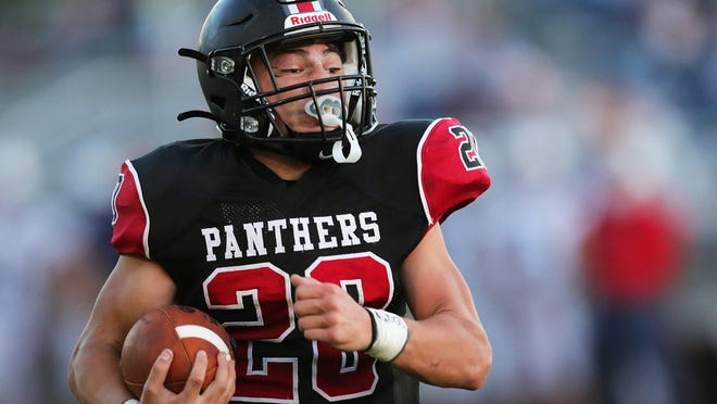 Manchester running back Cooper Briggs rushes for a 52 yard touchdown against Fairless during the first half of a football game at James R. France Stadium, Friday, Sept. 11, 2020, in Akron, Ohio.