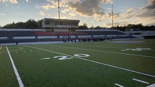 The stands are empty at Veteran Stadium as the Erie High football team gets ready for kickoff Friday night, Sept. 18, 2020, against Cathedral Prep. The Erie School District voted not to allow fans at home sporting events because of the COVID-19 pandemic.