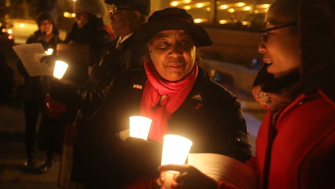 A photo from last year's vigil in memory of Kenneth Chamberlain Sr.