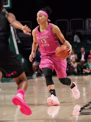 Florida State guard Nausia Woolfork had 18 points, 10 assists and nine rebounds in Sunday's win at Miami.