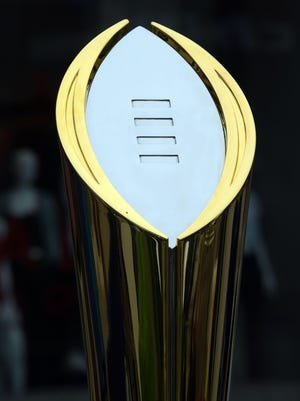 The College Football Playoff national championship trophy during Pac-12 media day at Hollywood & Highland.
