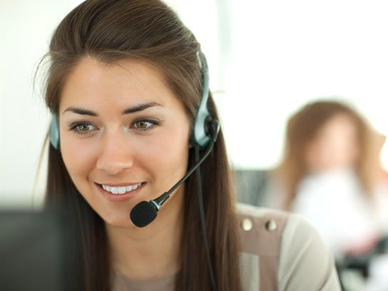 Woman talking on headset