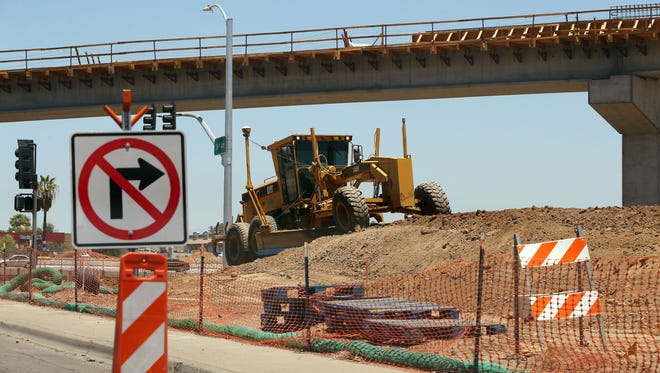 The Loop 202 construction near 59th Avenue and Interstate 10 on June 26, 2018, in Phoenix.