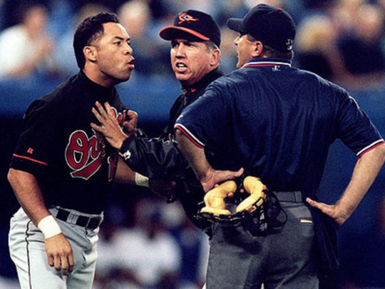Roberto Alomar spit in the face of an umpire.