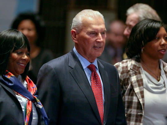 Wilmington mayor Mike Purzycki is escorted in the council chambers by council members Zanthia Oliver (left) and Rysheema Dixon to deliver his budget proposal at the Louis L. Redding City/County Building Thursday.