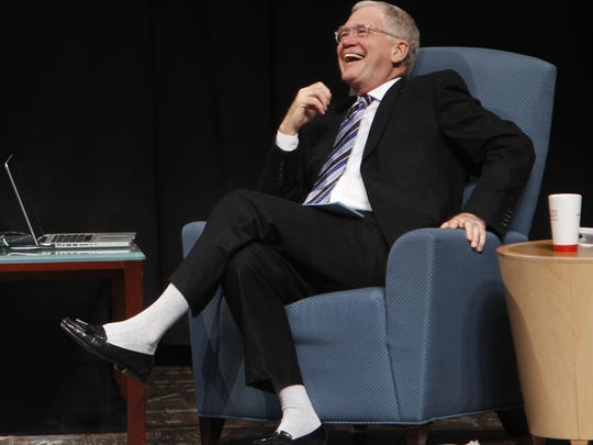 David Letterman chats with Rachel Maddow at Ball State's Emens Auditorium on Dec. 2, 2011. The conversation was part of the David Letterman Distinguished Professional Lecture and Workshop Series.