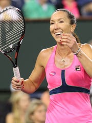 Jelena Jankovic is all smiles after winning her semifinal match against Sabine Lisicki on Friday at the BNP Paribas Open.
