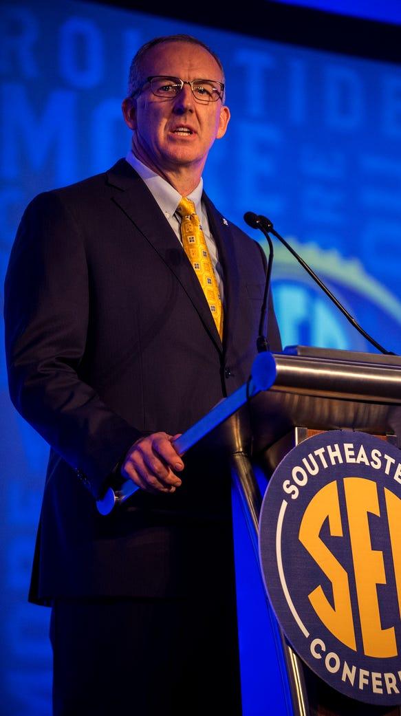 SEC Commissioner Greg Sankey speaks during Day 1 of