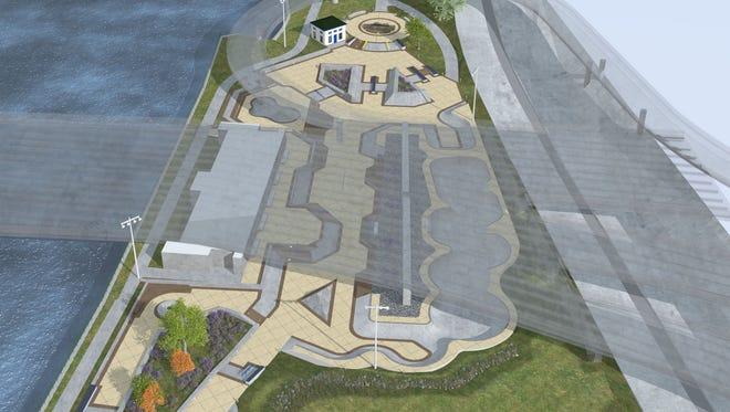 Conceptual rendering of a skate park under the Douglass-Anthony Bridge.