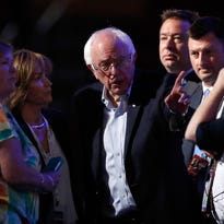 Sen. Bernie Sanders (I-VT) stands on stage prior to the start of the first day of the Democratic National Convention at the Wells Fargo Center, July 25, 2016 in Philadelphia, Pennsylvania. An estimated 50,000 people are expected in Philadelphia, including protesters and members of the media. The four-day Democratic National Convention kicked off July 25.